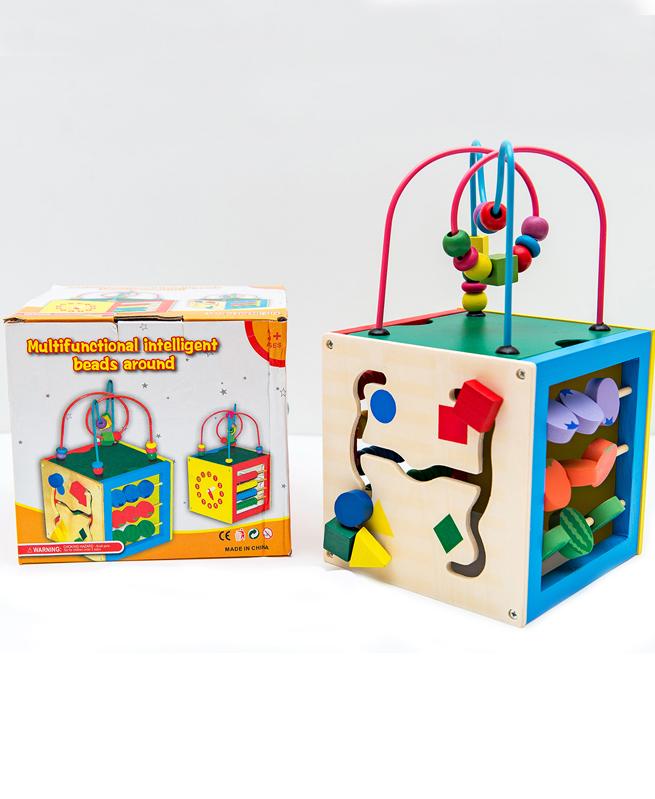 Jouet Educatif Cube - Boite Magic en bois 5 en 1 -Montessori