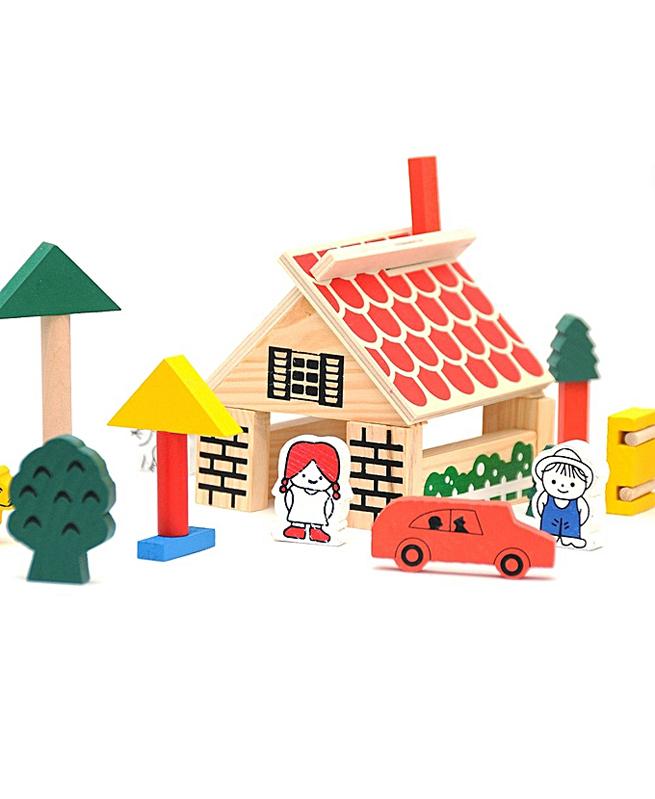Village building blocks en bois - Jouet Montessori