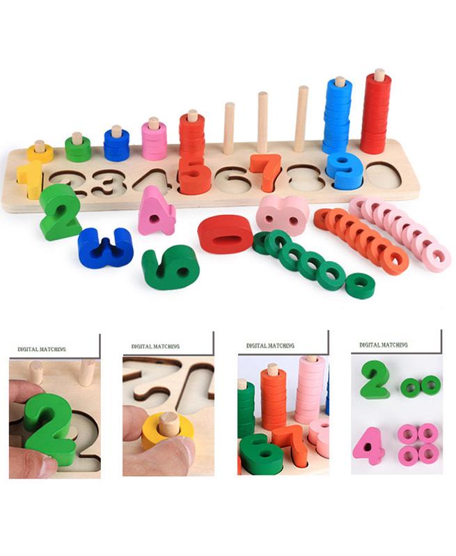 Logarithme chiffres en bois - Joute Montessori