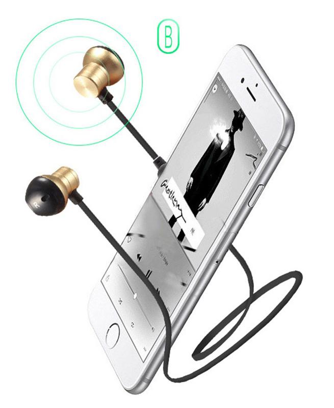 Ecouteurs Intra-Auriculaires M12 - Bluetooth Sans Fil en Métal Magnétique
