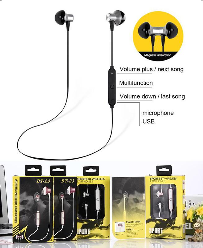 Ecouteurs Bt-23 - Oreillettes bluetooth sans fil avec Microphone