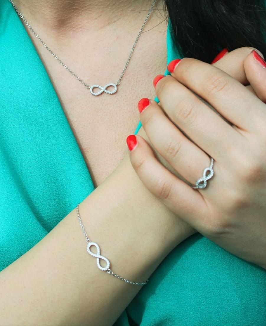 Parures Infinity en Argent Certifié 925 Collier Bague Bracelet et Boucles d'Oreilles