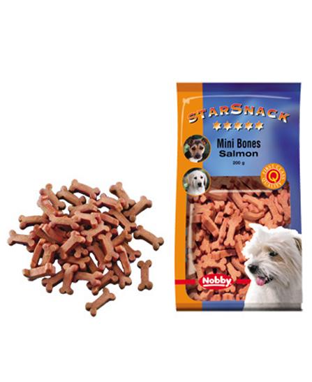 Snack chien biscuits Mini Bones Saumon 200g - Nobby