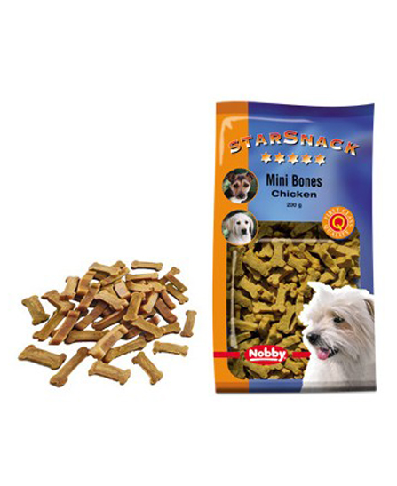 Snack chien biscuits Mini Bones Poulet 200g - Nobby