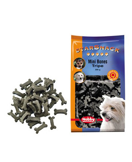 Snack chien biscuits Mini Bones Tripes 200g - Nobby