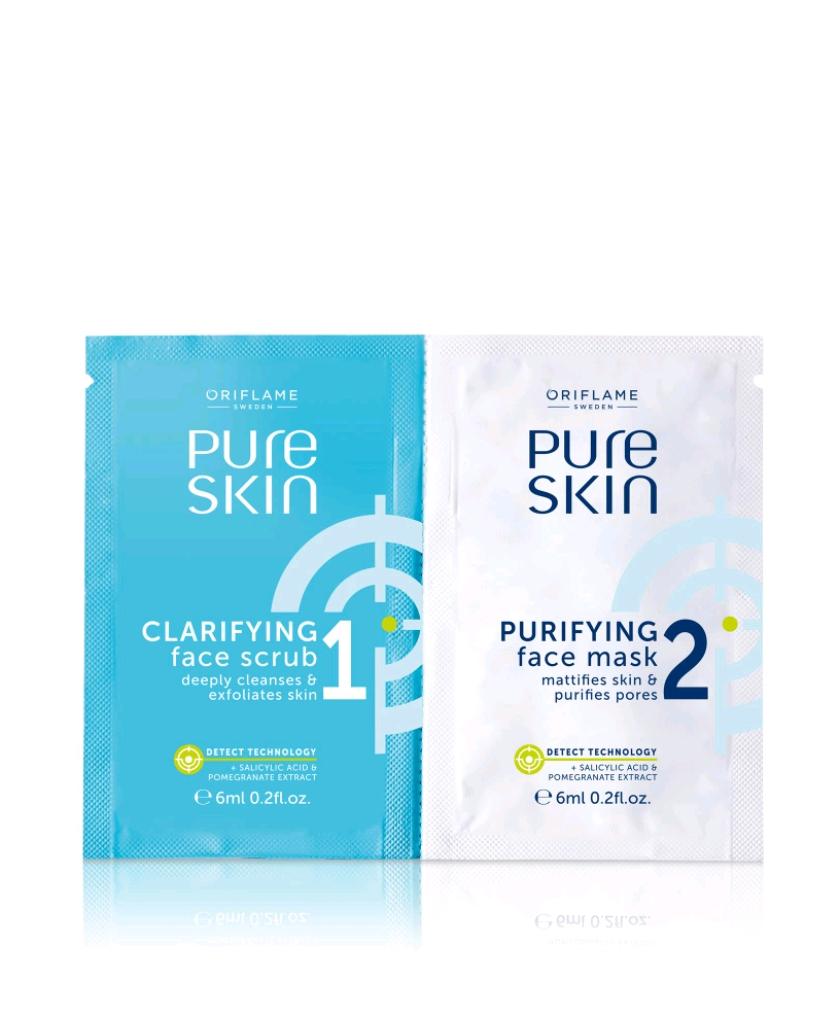 Gommage Clarifiant et Masque Purifiant pour le Visage Pure Skin 12ml - Oriflame