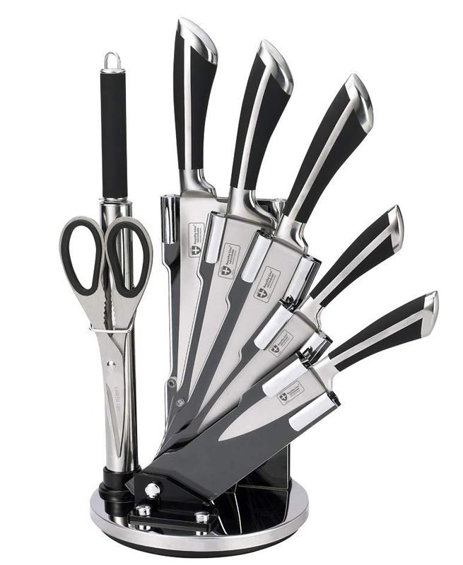 Set de 5 couteaux en Inox avec ciseau, fusil et support pivotant - Royalty Line