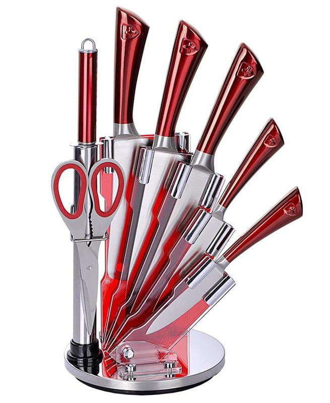 Set de 5 couteaux en Inox avec support acrylique aiguisoir et ciseau - Royalty Line