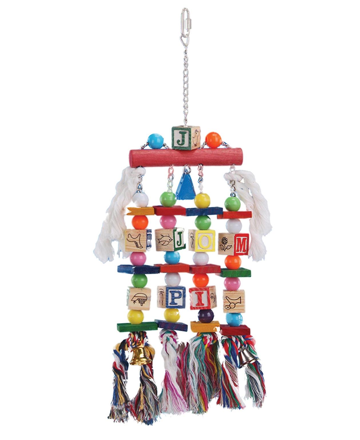 Jouet Multicolore bois, cordes et clochettes pour Perroquet 50 cm - Vadigran