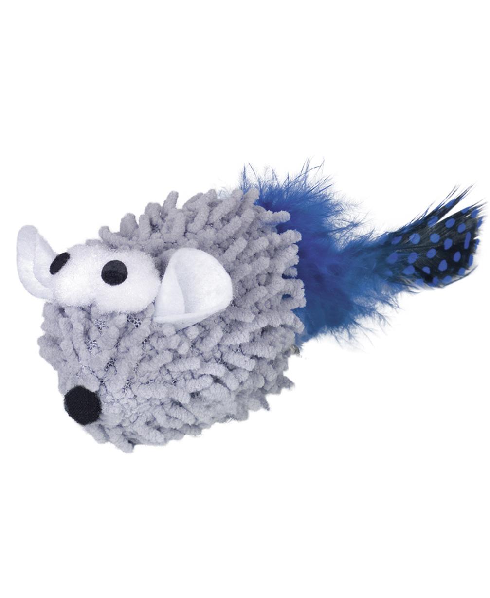 Jouet Souris Moppy Gris avec plumes et herbe à chat - Nobby