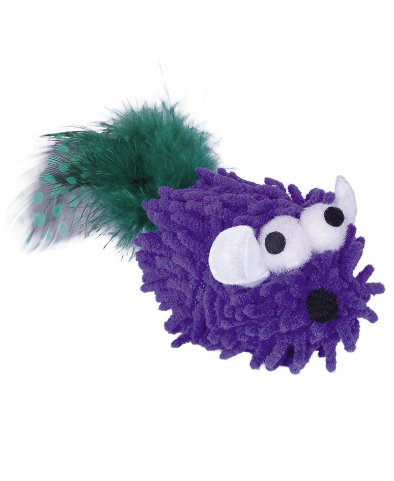 Jouet Souris Moppy Poupre avec plumes et herbe à chat - Nobby