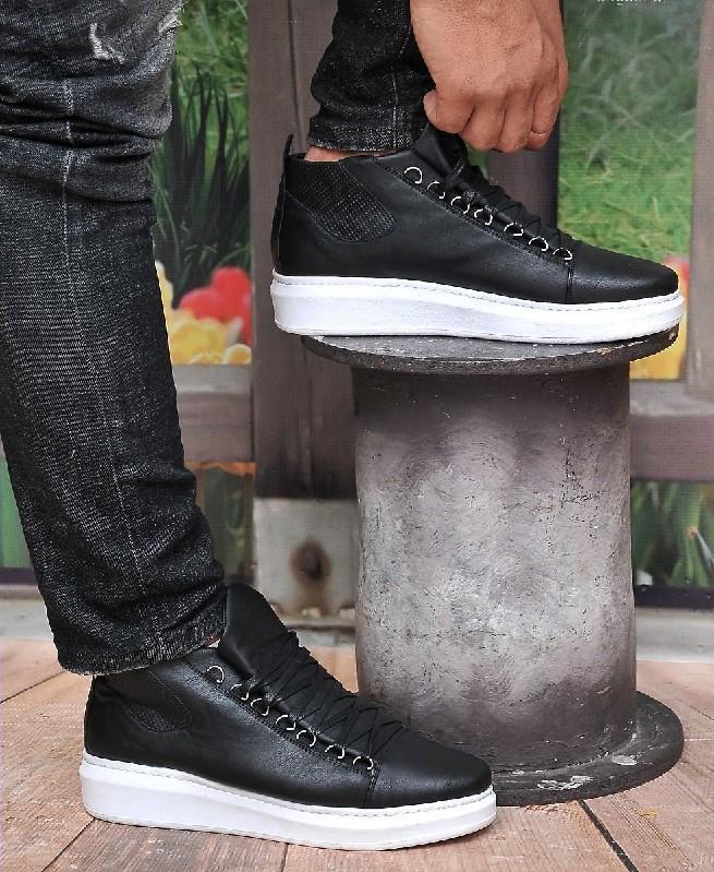 Chaussures Montantes à Semelle Blanche pour Homme - Noir - Fashion hiver 2019