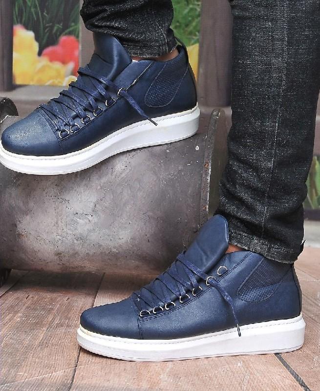 Chaussures Montantes à Semelle Blanche pour Homme - Bleu - Fashion hiver 2019