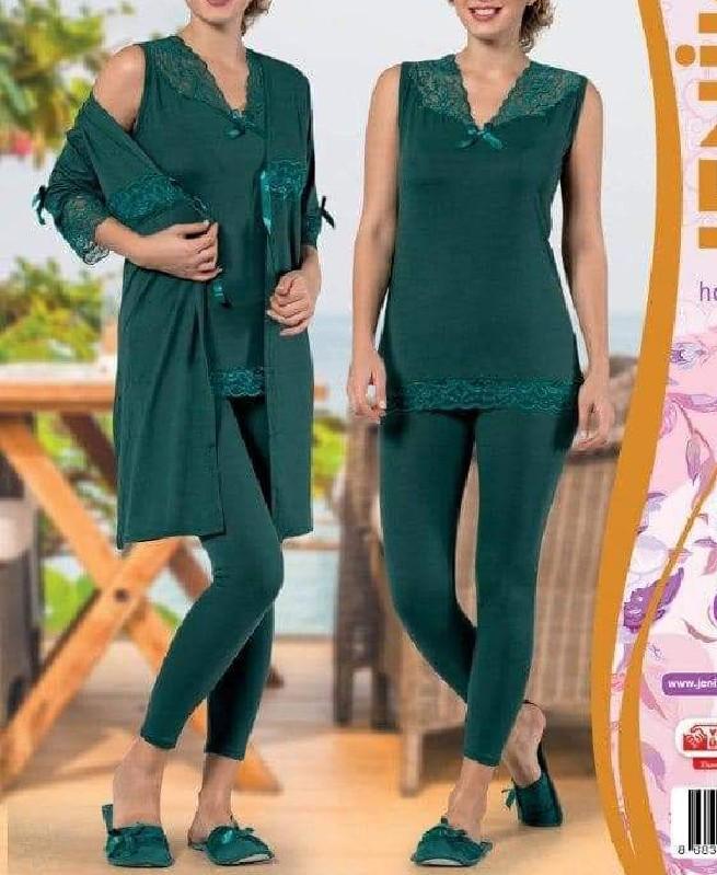 Pyjama de nuit Verte 3 pièces femme - Jenika