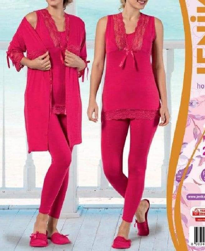 Pyjama de nuit Rose Indian 3 pièces femme - Jenika