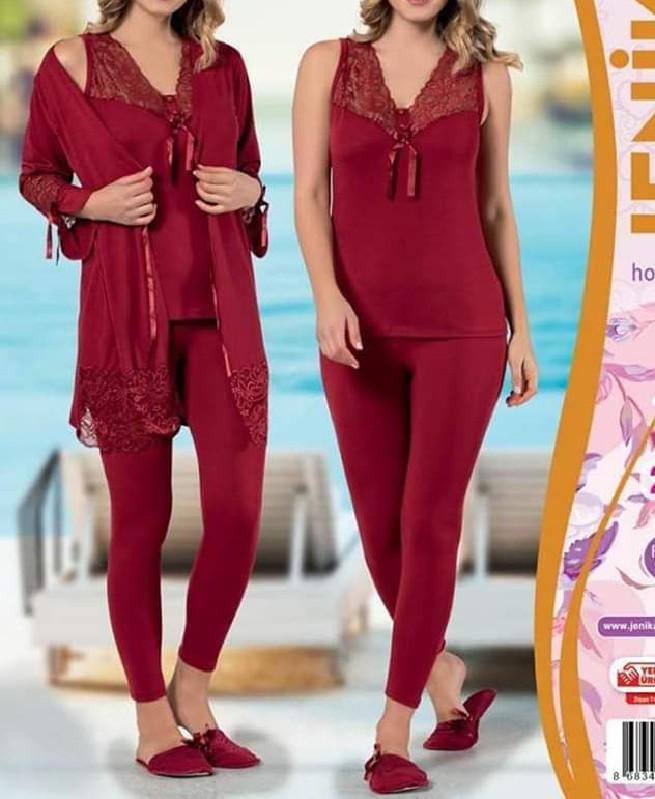 Pyjama de nuit Rouge avec dentelle 3 pièces femme - Jenika