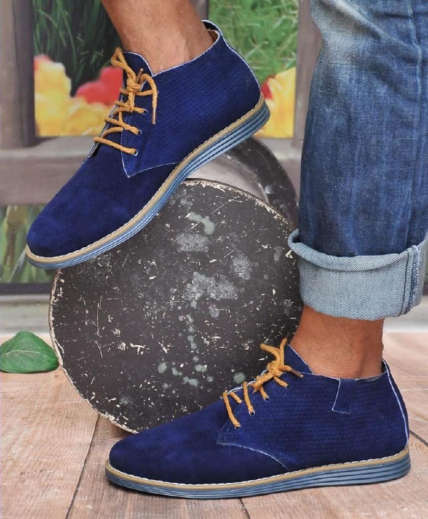 Bottes Désert Bleu - Chaussures en danne très chique pour homme