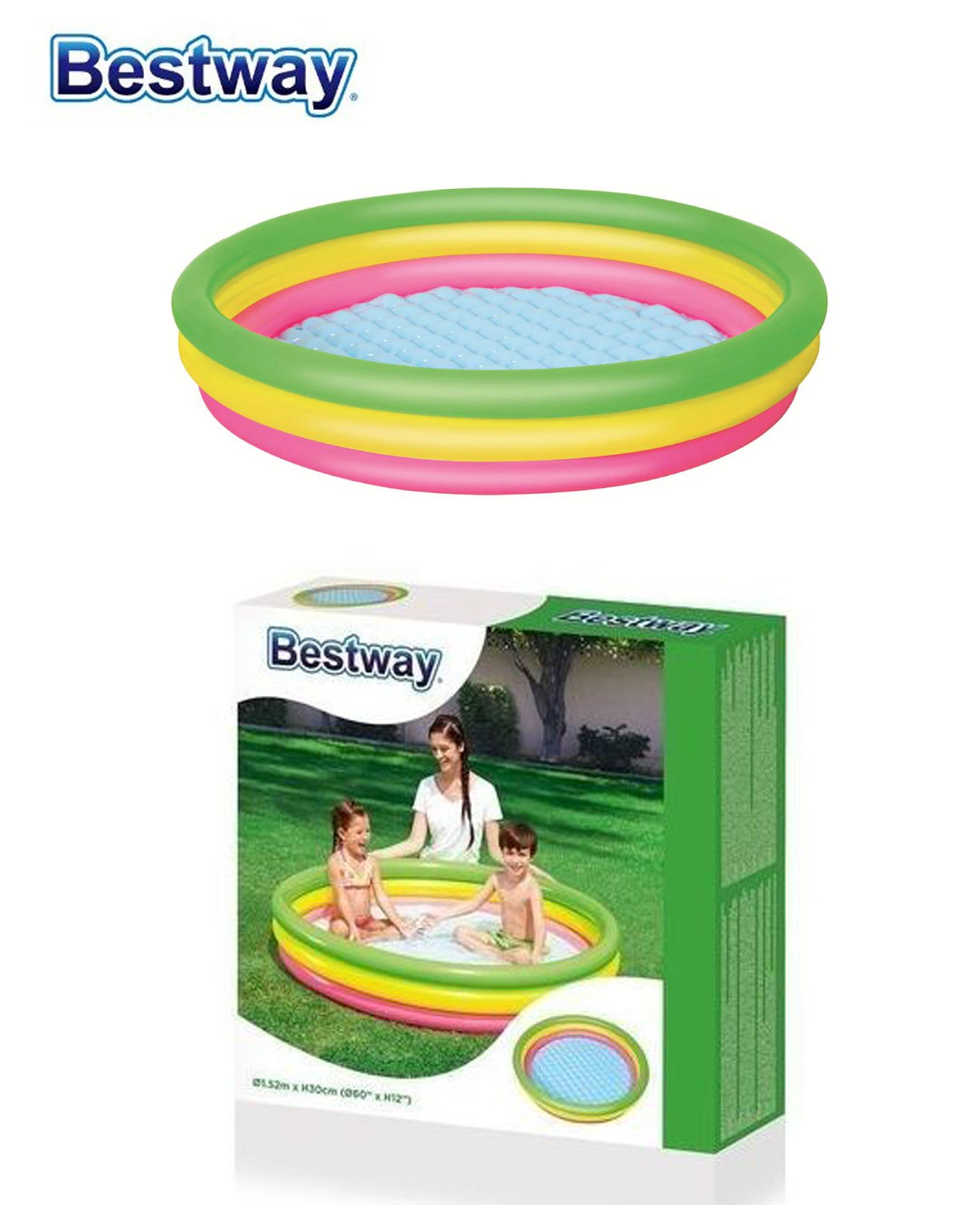 Piscine gonflable 3 boudins arc en ciel 1,02m x 25cm - Bestway