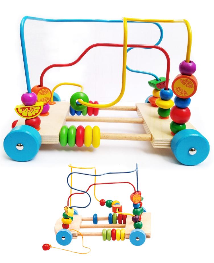 Jeu de labyrinthe des perles et fruits à tirer pour garçon et fille - Montessori
