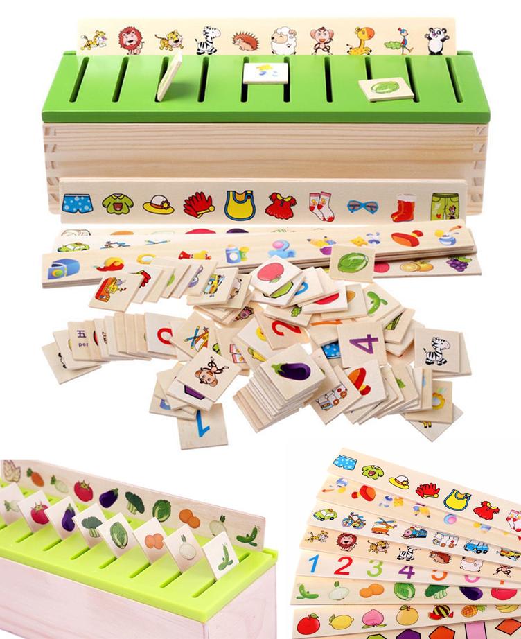 Jeux Boite de trie images en catégories en bois - Montessori