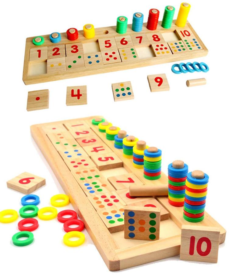 Jouetéducatif Plateau de matching 3 en 1 en bois - Montessori