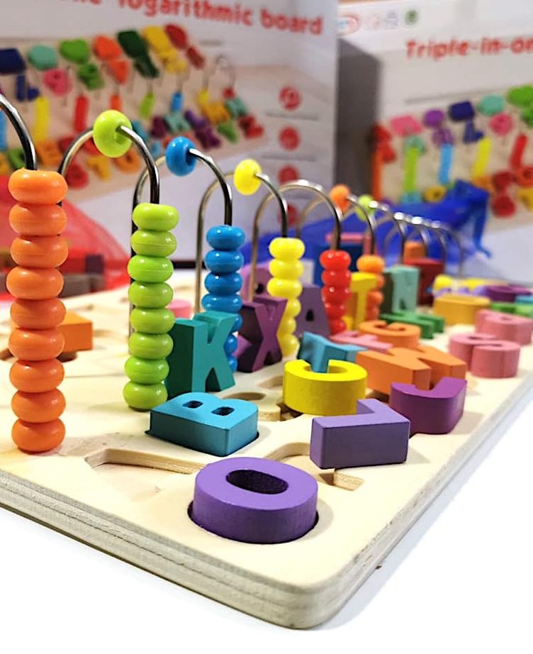 Jouet Educatif Plateau d'Eveil : Chiffres, formes et alphabet - Montessori