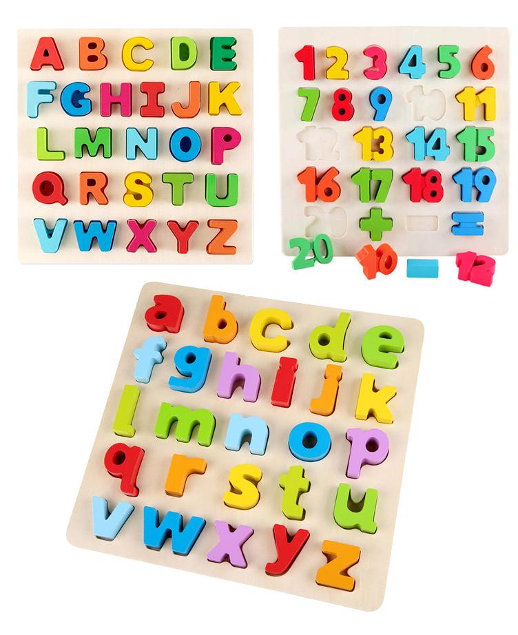 Puzzle Alphabet ou Chiffres Jouet éducatif en bois - Montessori