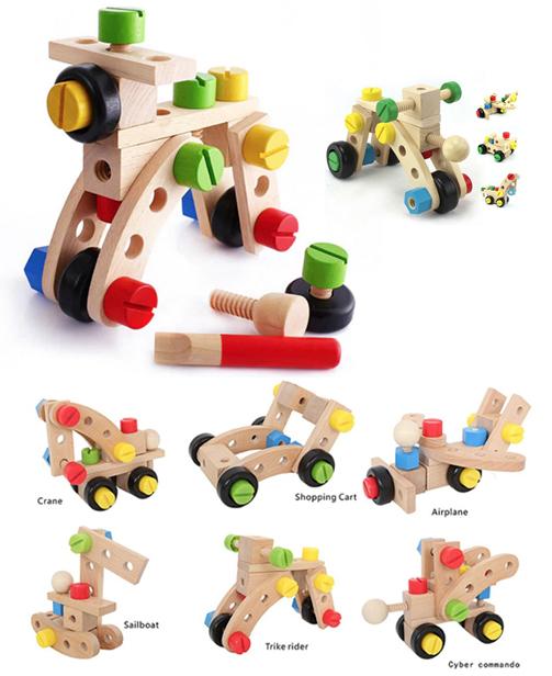 Kit de construction véhicules à visser Jouet Educatif en Bois - Montessori