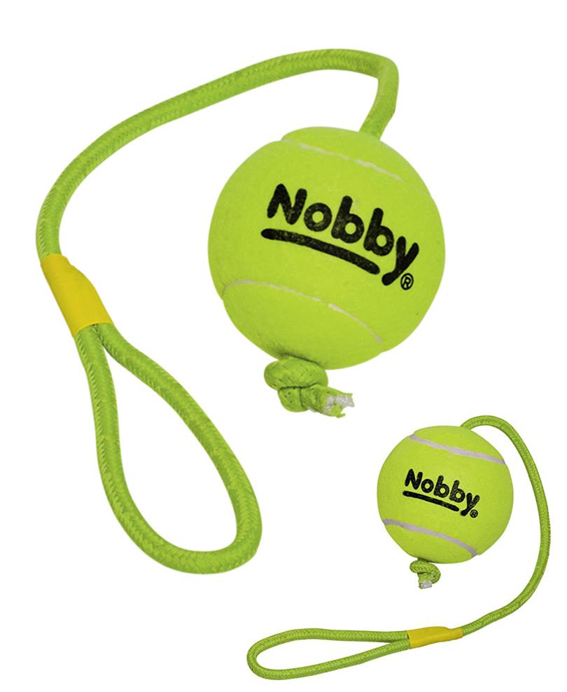 Jouet Chien Balle de Tennis 10 cm avec Corde de Jet 70 cm XL - Nobby