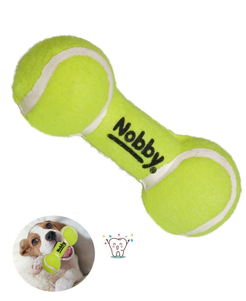 Jouet Chien Haltère avec 2 balles de tennis 13,5 cm - Nobby