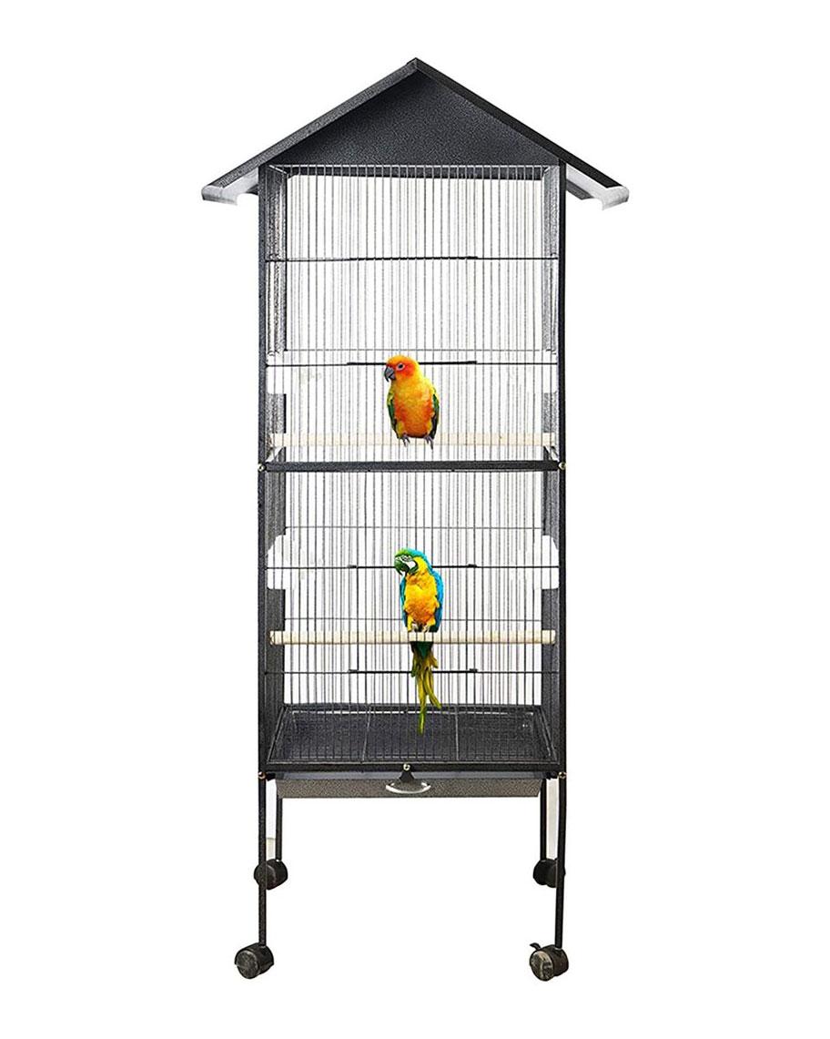 Cage volière galvanisée anti-répulsif pour canaries et perroquets