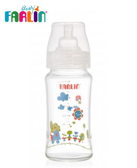 Farlin Biberon en verre Boro-Cilicate Col-large PM 240 ml