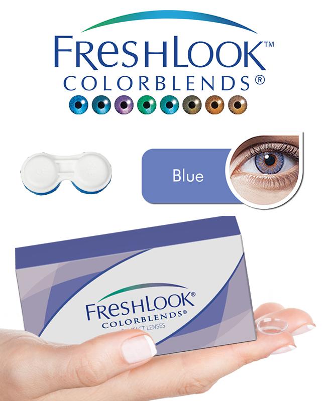 Pack Freshlook Colorblends (avec corrections) - Bleu + Aqua Lens 120ml