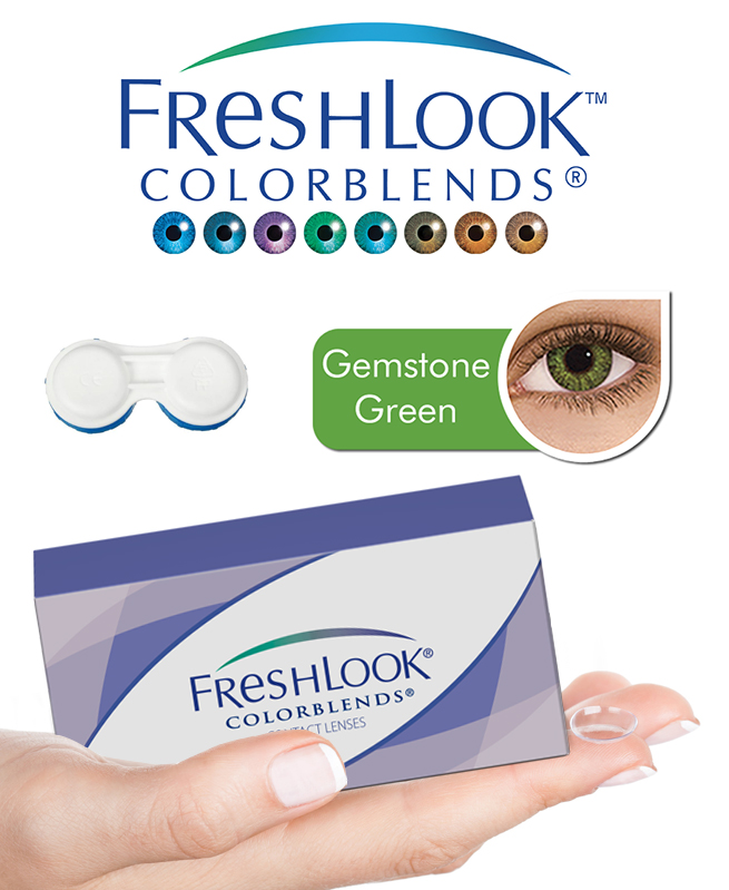 Pack Freshlook Colorblends (avec corrections) - Gemstone Vert + Aqua Lens 120ml