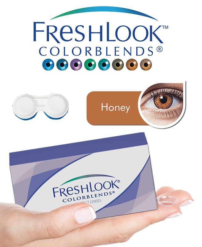 Pack Freshlook Colorblends (avec corrections) - Honey + Aqua Lens 120ml