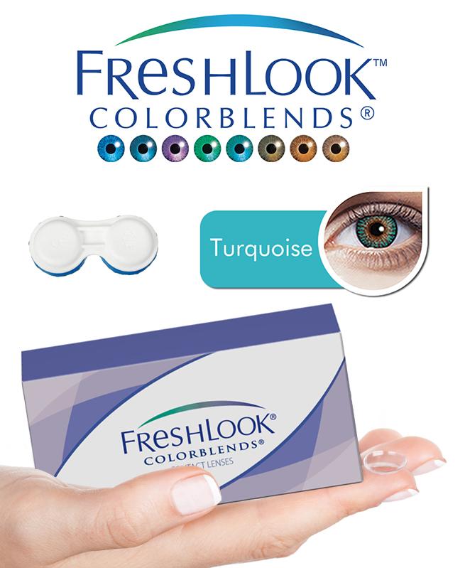 Pack Freshlook Colorblends (avec corrections) - Turquoise + Aqua Lens 120ml