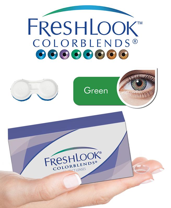 Pack Freshlook Colorblends (avec corrections) - Vert + Aqua Lens 120ml