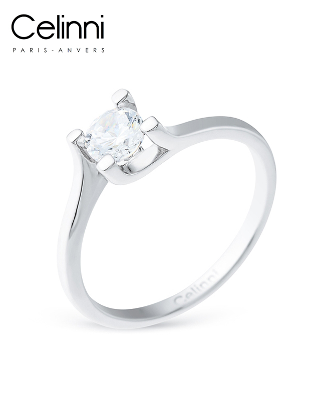 Bague Solitaire Diamant IDYLLE Or Blanc 0.50 Carat