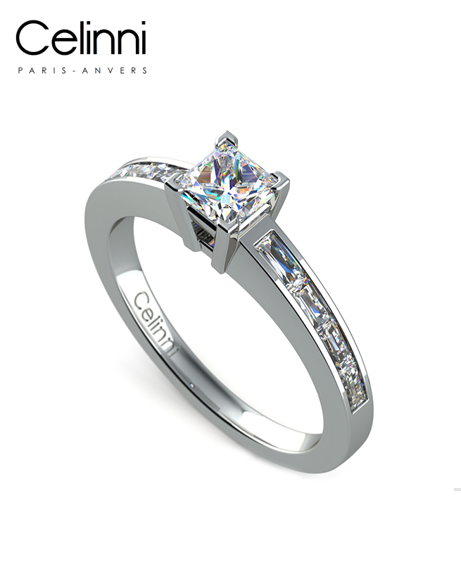 Bague Solitaire Diamant MA PRINCESSE Or Blanc 800/1000 1.00 Carat