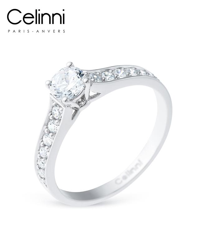 Bague Solitaire Diamant MON AMOUR Or Blanc 0.72 Carat