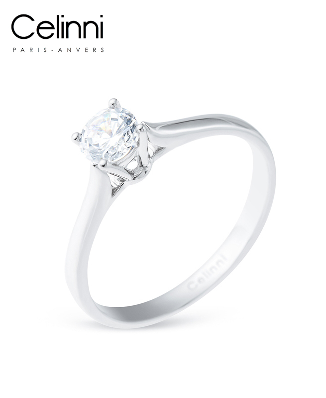 Bague Solitaire Diamant PROMESSE Or Blanc 0.50 Carat