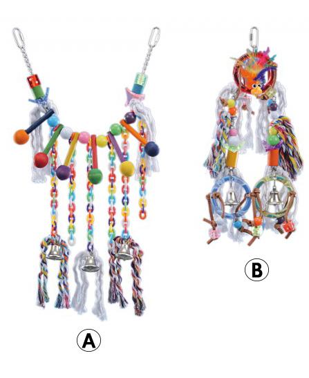 Jouet chaine, plastique et anneaux pour Perroquet de Vadigran