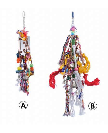 Jouet corde, perle et cuir pour Perroquet de Vadigran