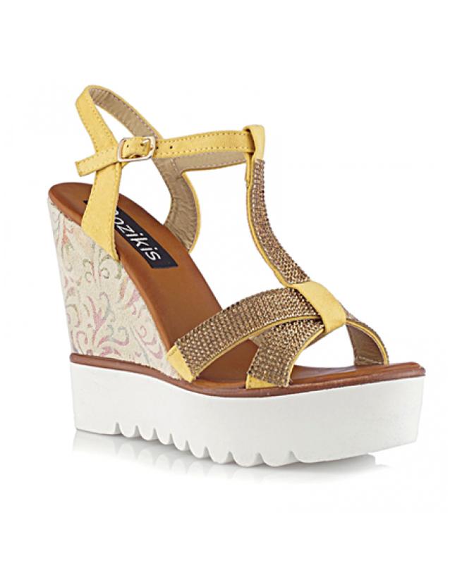 Sandales compensées Jaune - Bozikis