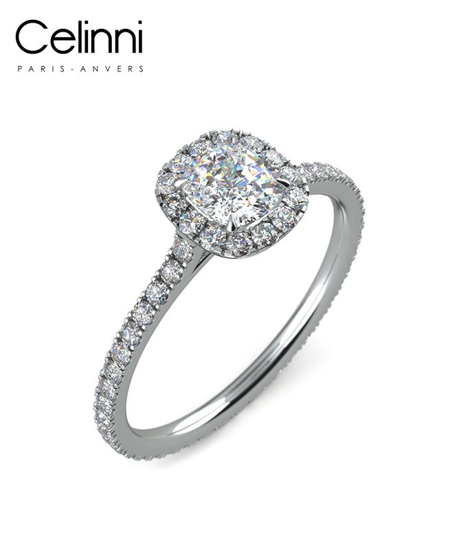 Bague Solitaire Diamant taille Coussin MA VIE Or Blanc 800/1000 1.10 Carat