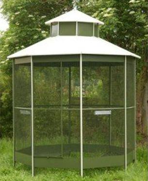 Volière extérieur NR22 vert avec toit blanc pour oiseau de Vadigran