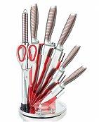 Set de 5 couteaux en Inox avec ciseau, fusil et support pivotant Rouge - Royalty Line