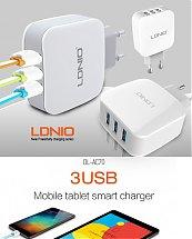 Chargeur LDNIO Adaptateur DL-AC70 Surpuissant Chargeur 3 Ports USB