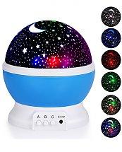 Lampe Projection Nuit Étoilée Rotative 4 LED Boule Ciel Veilleuse Enfant