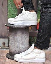 Chaussures Montantes à Semelle Blanche pour Homme - Blanc - Fashion hiver 2019